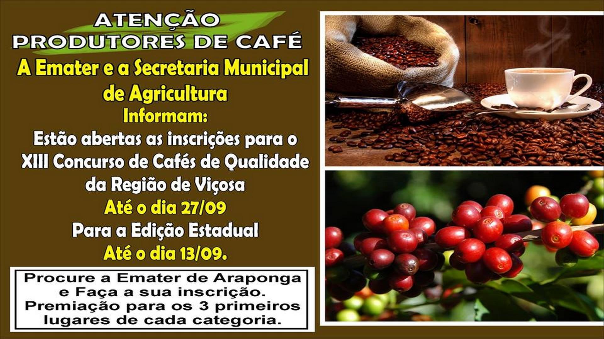 ESTÃO ABERTAS INSCRIÇÃO PARA XIII CONCURSO DE CAFÉS DE QUALIDADE !!!
