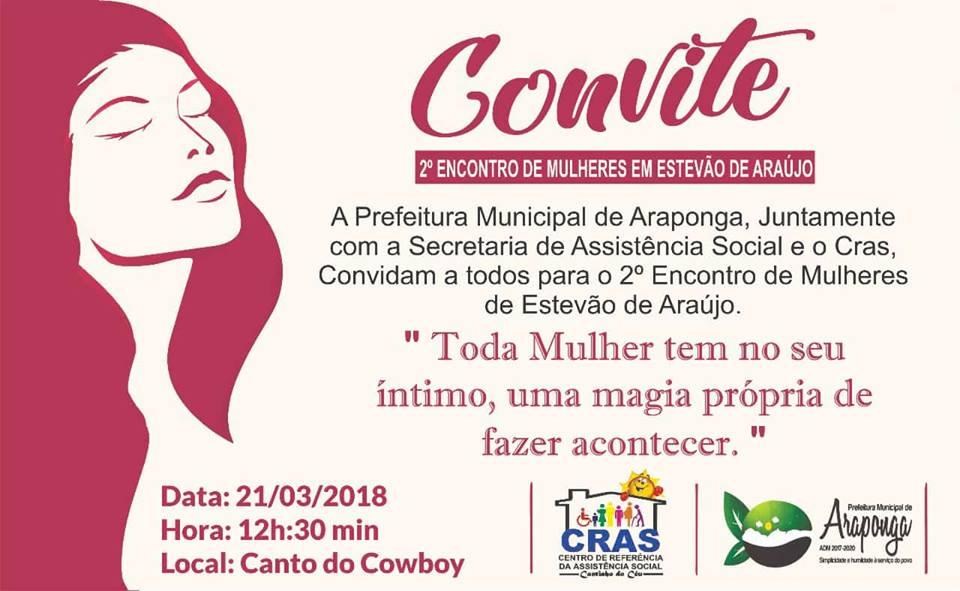 ATENÇÃO MULHERES DE ARAPONGA E REGIÃO !!!
