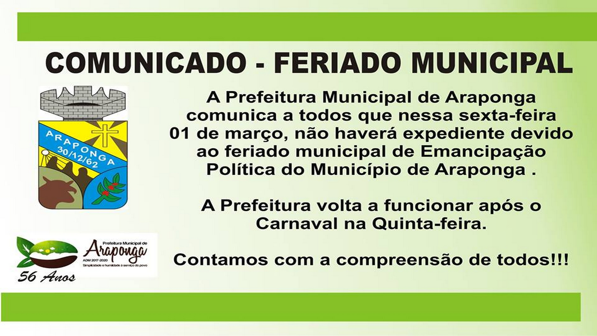 PREFEITURA COMUNICA FERIADO MUNICIPAL !!!