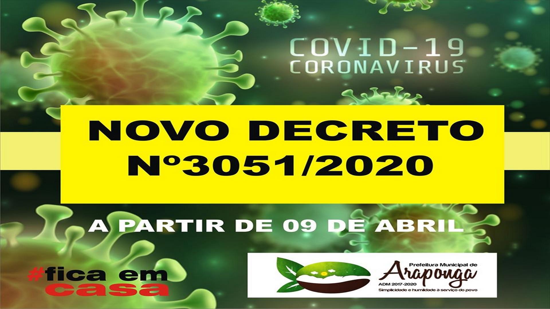 COVID-19: PREFEITURA DE ARAPONGA CRIA NOVO DECRETO QUE ESTABELECE NOVAS MEDIDAS CONTRA O CORONAVÍRUS !!!
